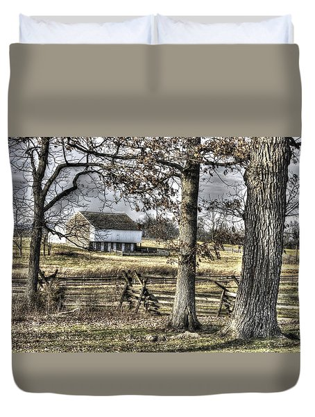 Duvet Cover featuring the photograph Gettysburg At Rest - Winter Muted Edward Mc Pherson Farm by Michael Mazaika
