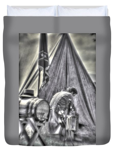 Duvet Cover featuring the photograph Gettysburg In The Camp - Counting The Losses by Michael Mazaika