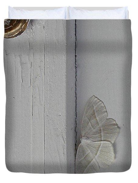 Ghost Doorbell Moth Duvet Cover