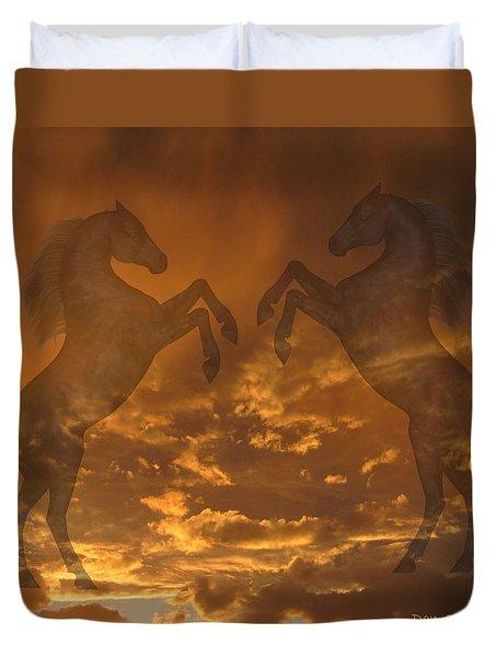Ghost Horses At Sunset Duvet Cover
