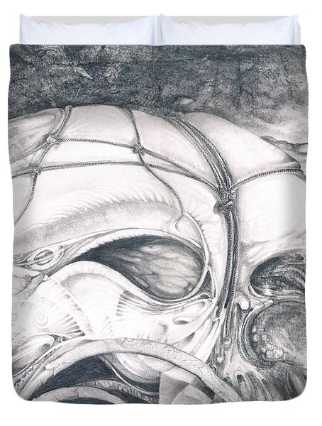 Duvet Cover featuring the drawing Ghost In The Machine by Otto Rapp