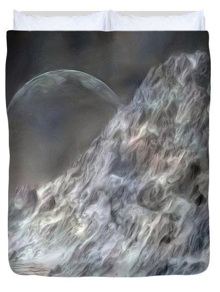 Duvet Cover featuring the painting Ghost Of Ragnarok by Pet Serrano
