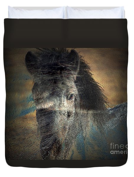 Duvet Cover featuring the photograph Ghost Pony by Irma BACKELANT GALLERIES
