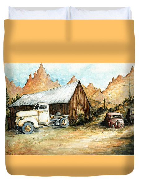 Ghost Town Nevada - Watercolor Art Duvet Cover