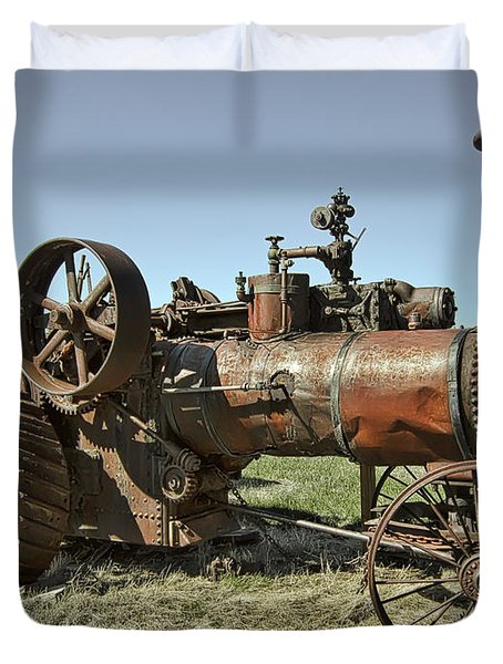 Ghost Town Steam Tractor Duvet Cover by Daniel Hagerman
