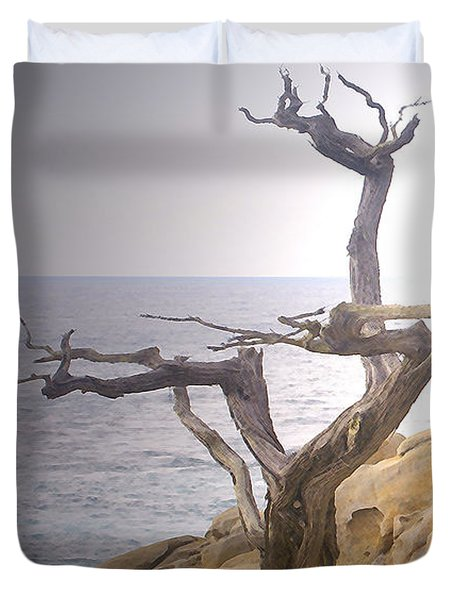 Ghost Tree Detail Duvet Cover by Barbara Snyder