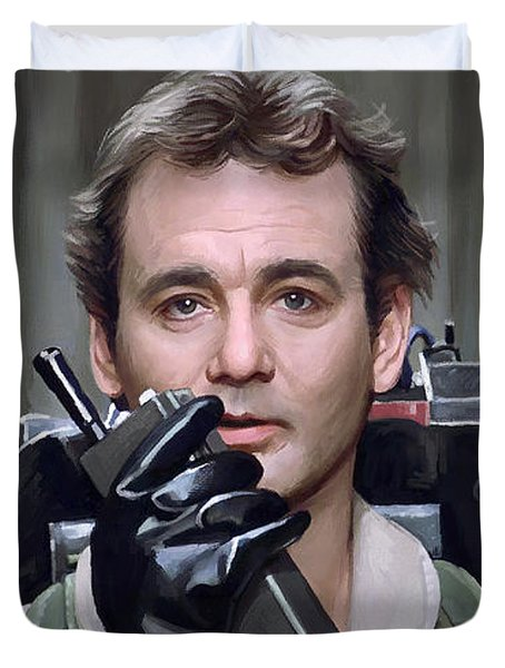 Duvet Cover featuring the painting Ghostbusters - Bill Murray Artwork 1 by Sheraz A
