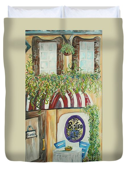 Duvet Cover featuring the painting Gianni's Bistro by Eloise Schneider