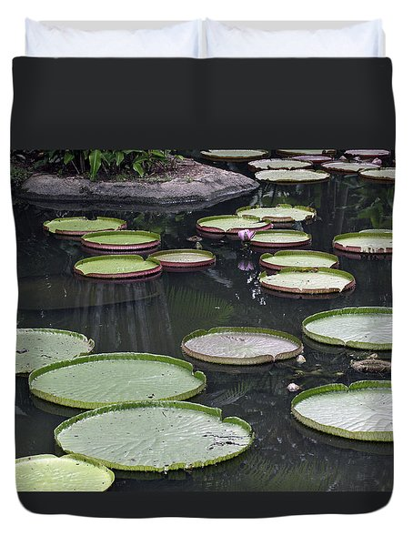 Duvet Cover featuring the photograph Giant Lily Pads by Shoal Hollingsworth