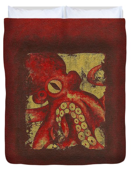Giant Red Octopus Duvet Cover