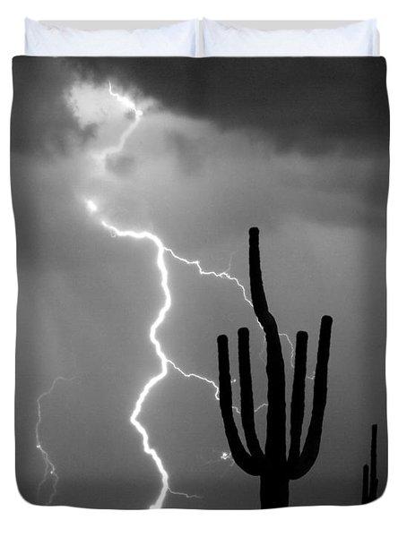 Giant Saguaro Cactus Lightning Strike Bw Duvet Cover