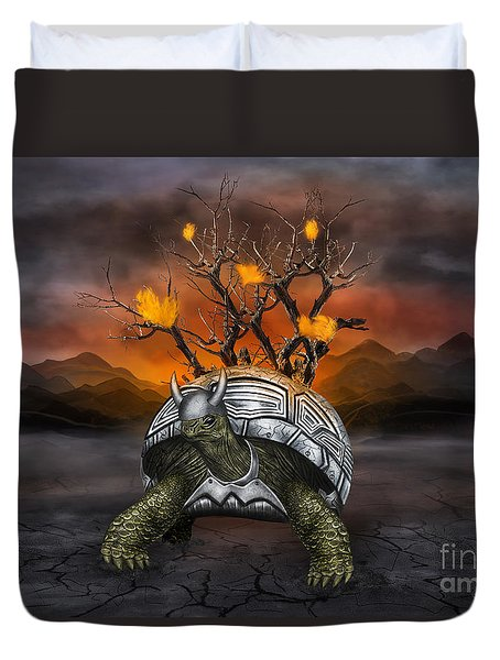 Giant Turtle Warrior In The Old Metal Armor... Duvet Cover