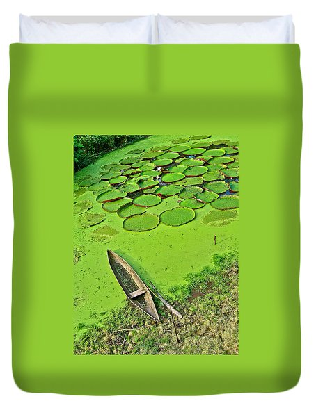 Giant Water Lilies And A Dugout Canoe In Amazon Jungle-peru Duvet Cover