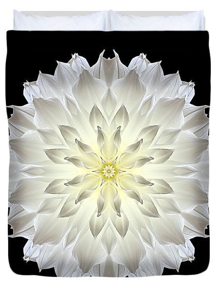 Giant White Dahlia Flower Mandala Duvet Cover