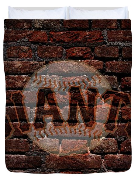Giants Baseball Graffiti On Brick  Duvet Cover
