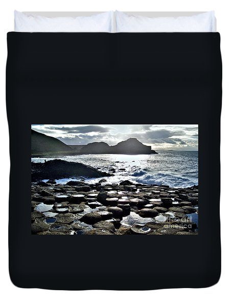 Giant's Causeway Sunset Duvet Cover by Nina Ficur Feenan