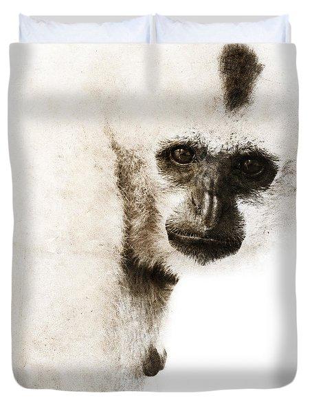 Crested Gibbon #1 Duvet Cover by Nola Lee Kelsey