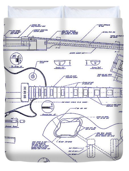 Gibson Les Paul Blueprint Drawing Duvet Cover