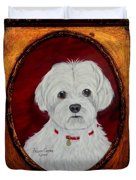 Duvet Cover featuring the painting Gidget.my Maltese by Fram Cama