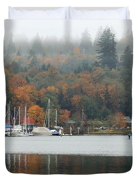 Gig Harbor In The Fog Duvet Cover by E Faithe Lester