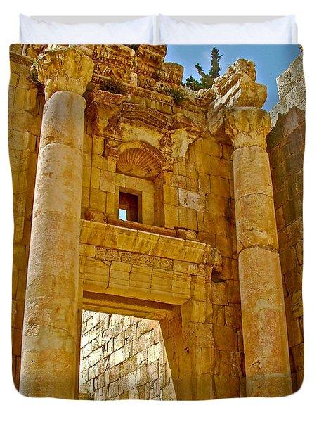 Gigantic Columns Of Tetrastyle Gateway In Front Of Propylaeumin In Greco-roman City Of Jerash-jordan Duvet Cover