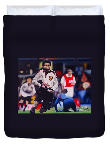 Giggs Goal V Arsenal Oil On Canvas Duvet Cover