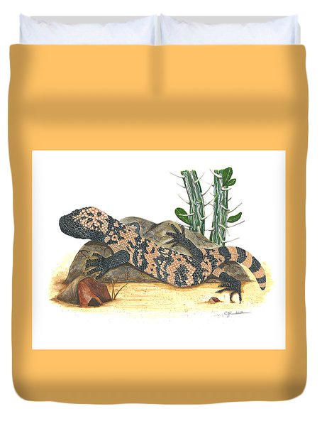 Gila Monster Duvet Cover by Cindy Hitchcock