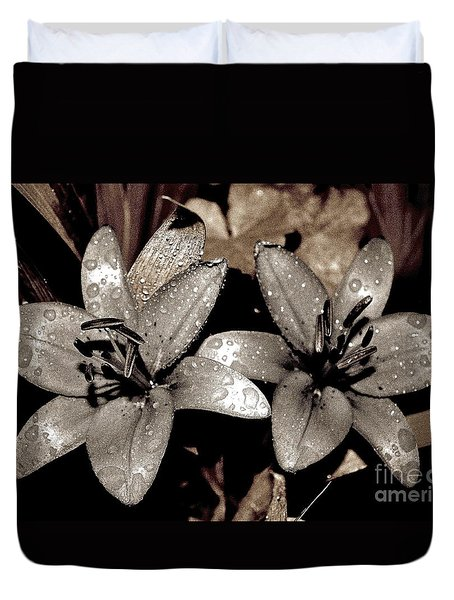 Duvet Cover featuring the photograph Gilded Lilies by Linda Bianic
