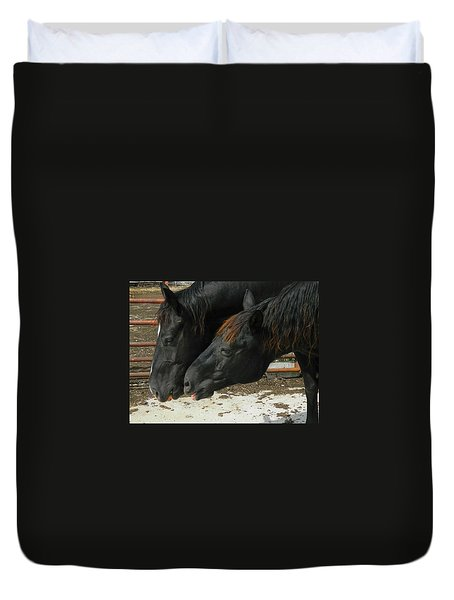 Duvet Cover featuring the photograph Gimme That Apple by Kathy Barney