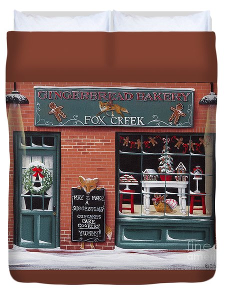 Gingerbread Bakery At Fox Creek Duvet Cover by Catherine Holman