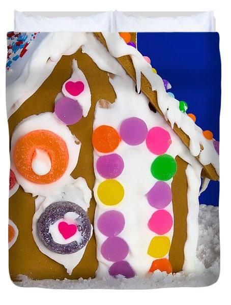 Duvet Cover featuring the photograph Gingerbread House by Vizual Studio