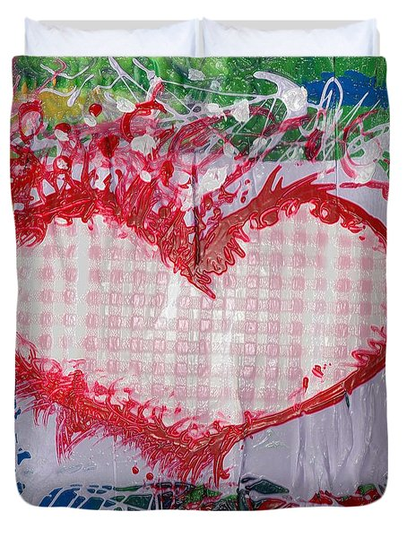 Gingham Crazy Heart Shrink Wrapped Duvet Cover by Genevieve Esson