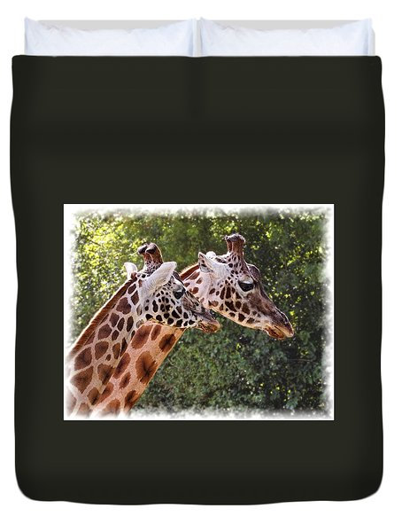 Duvet Cover featuring the digital art Giraffe 03 by Paul Gulliver