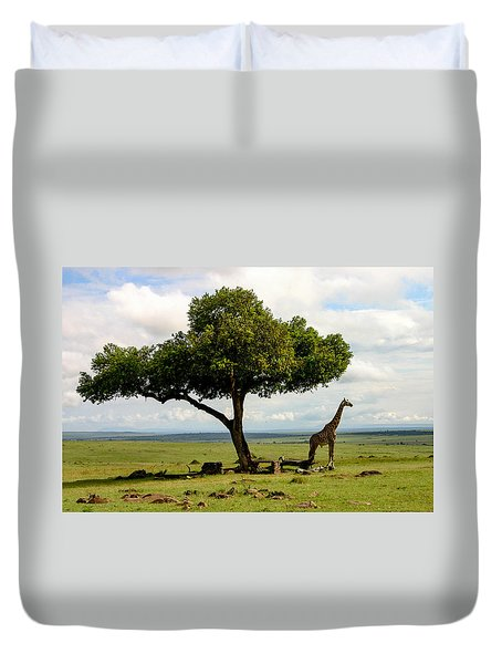 Giraffe And The Lonely Tree  Duvet Cover