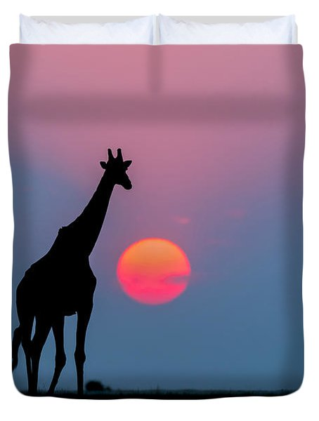 Giraffe At Sunset Chobe Np Botswana Duvet Cover by Andrew Schoeman