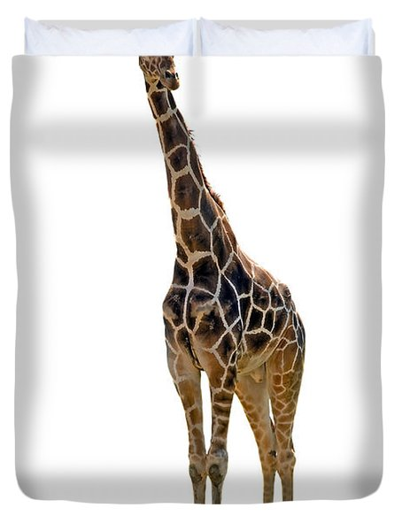 Duvet Cover featuring the photograph Giraffe by Charles Beeler