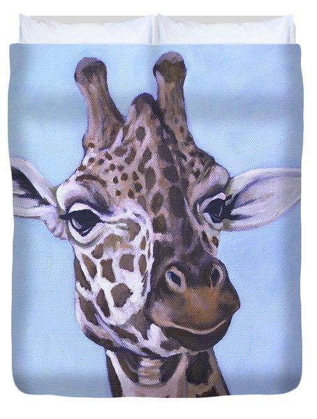 Giraffe Eye To Eye Duvet Cover