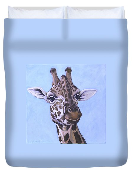 Giraffe Eye To Eye Duvet Cover by Penny Birch-Williams