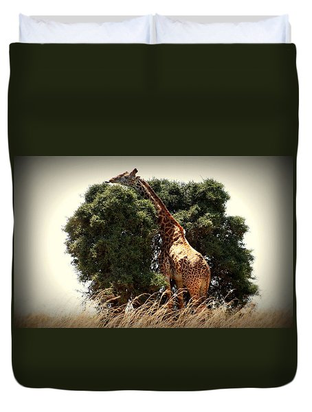 Giraffe In Tree Version Two Duvet Cover