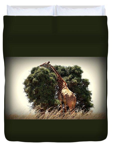 Giraffe In Tree Version Two Duvet Cover