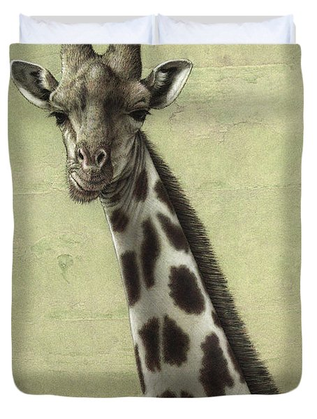 Duvet Cover featuring the painting Giraffe by James W Johnson