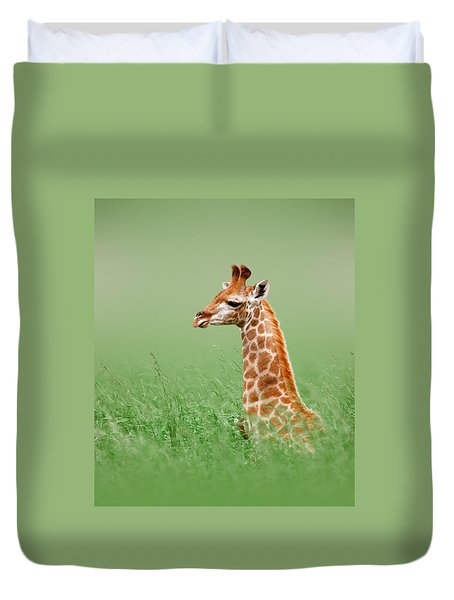 Giraffe Lying In Grass Duvet Cover by Johan Swanepoel