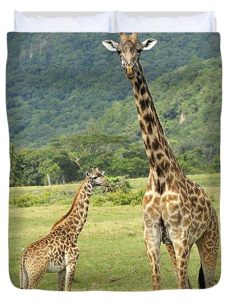 Giraffe Mother And Calftanzania Duvet Cover