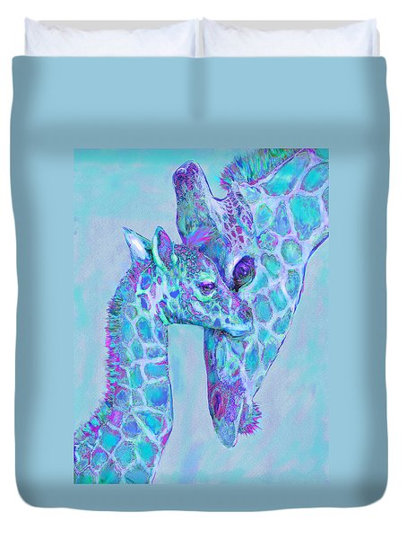 Duvet Cover featuring the digital art Giraffe Shades  Purple And Aqua by Jane Schnetlage