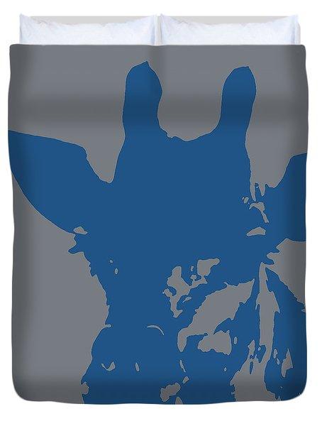 Giraffe Silhouette Grey Blue Duvet Cover