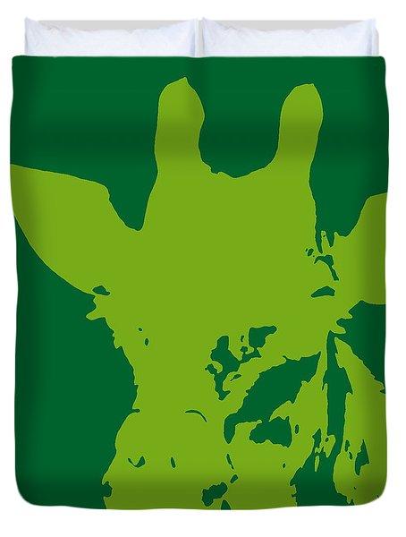Giraffe Silhouette Lime Green Duvet Cover