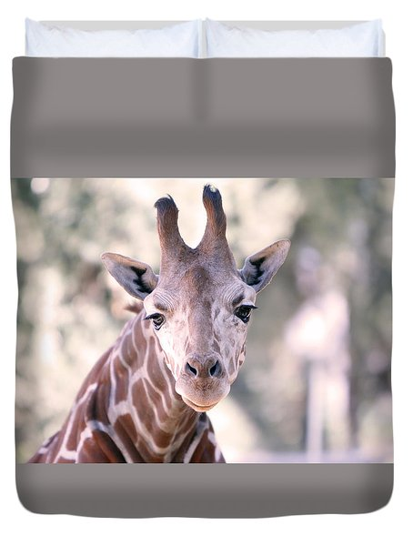 Duvet Cover featuring the pyrography Giraffe Staring  by Shoal Hollingsworth