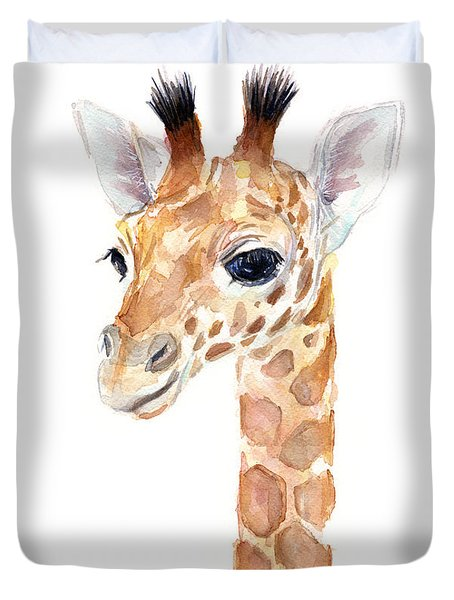 Giraffe Watercolor Duvet Cover by Olga Shvartsur