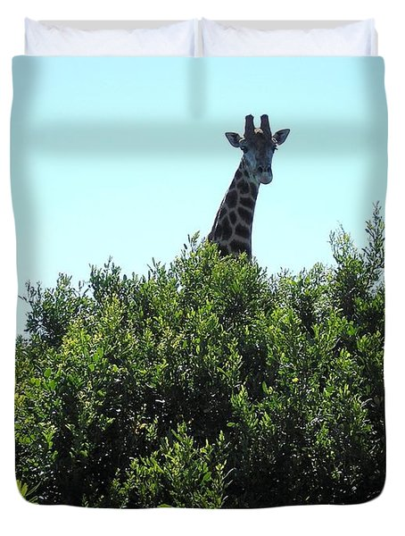Giraffe With Nowhere To Hide Duvet Cover