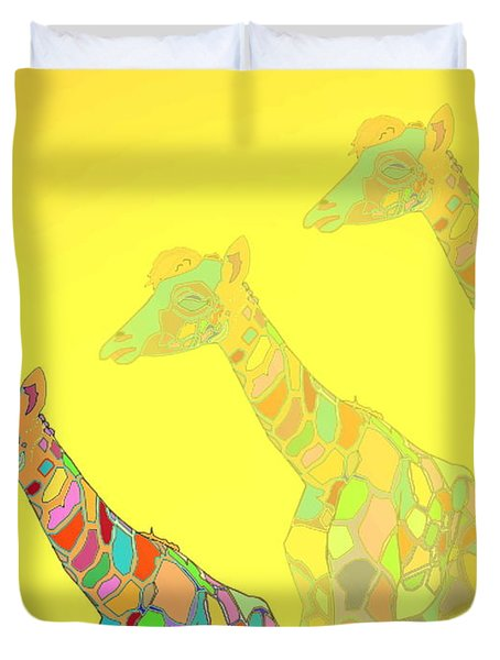 Giraffe X 3 - Yellow - The Card Duvet Cover by Joyce Dickens